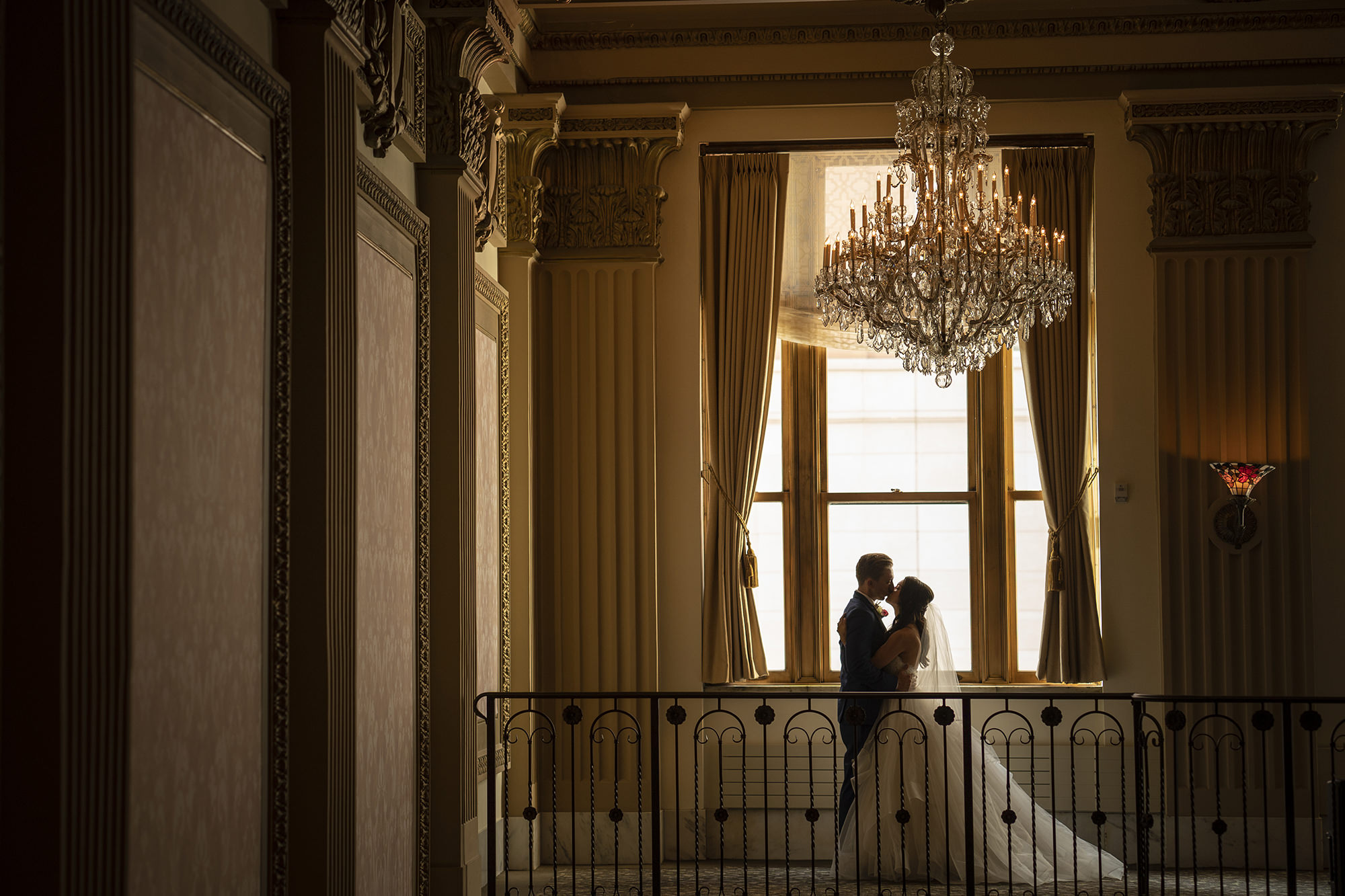 Kate And Brad By Window With Hess Chandelier