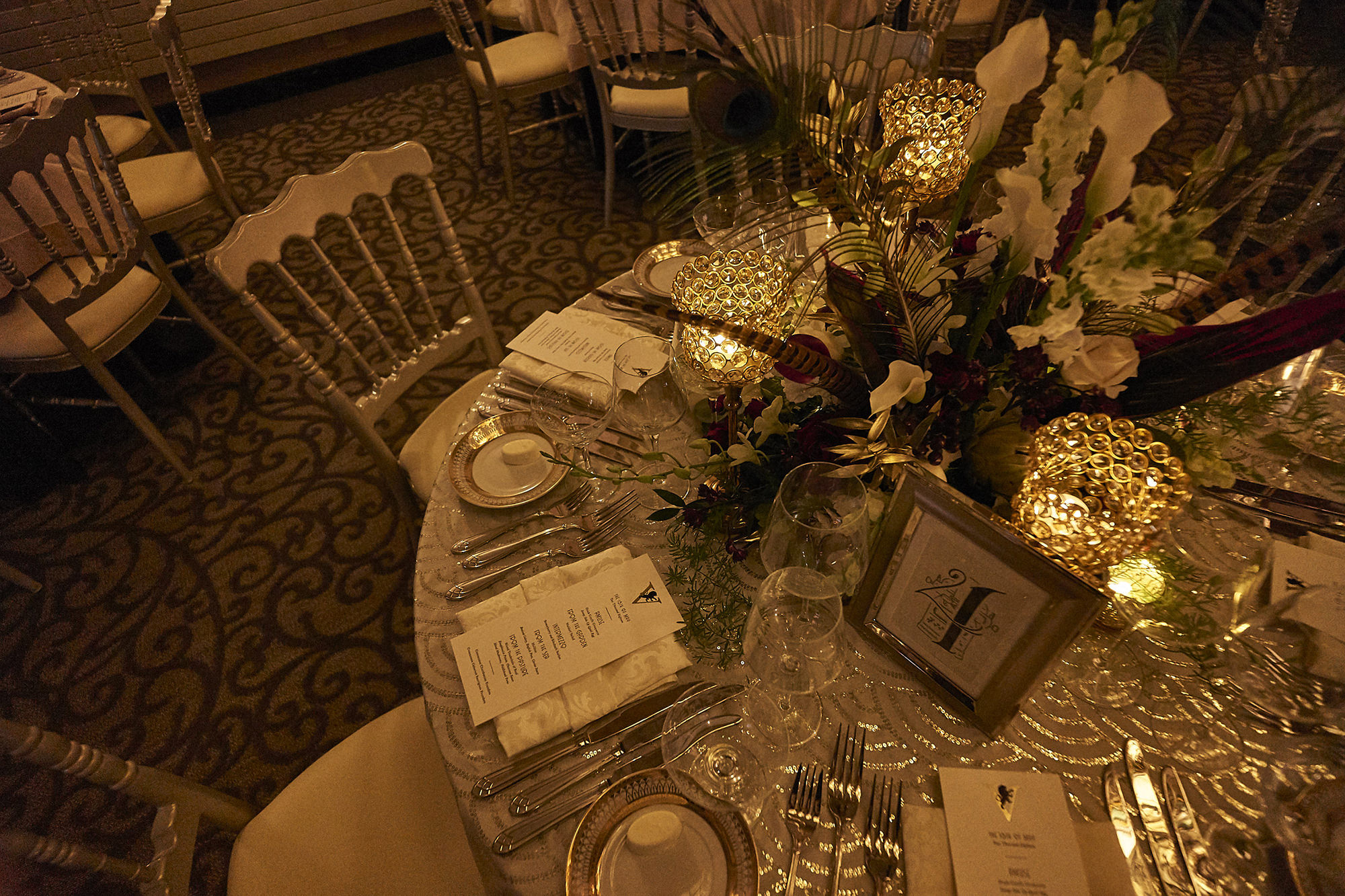 Gold And Platinum Table Setting