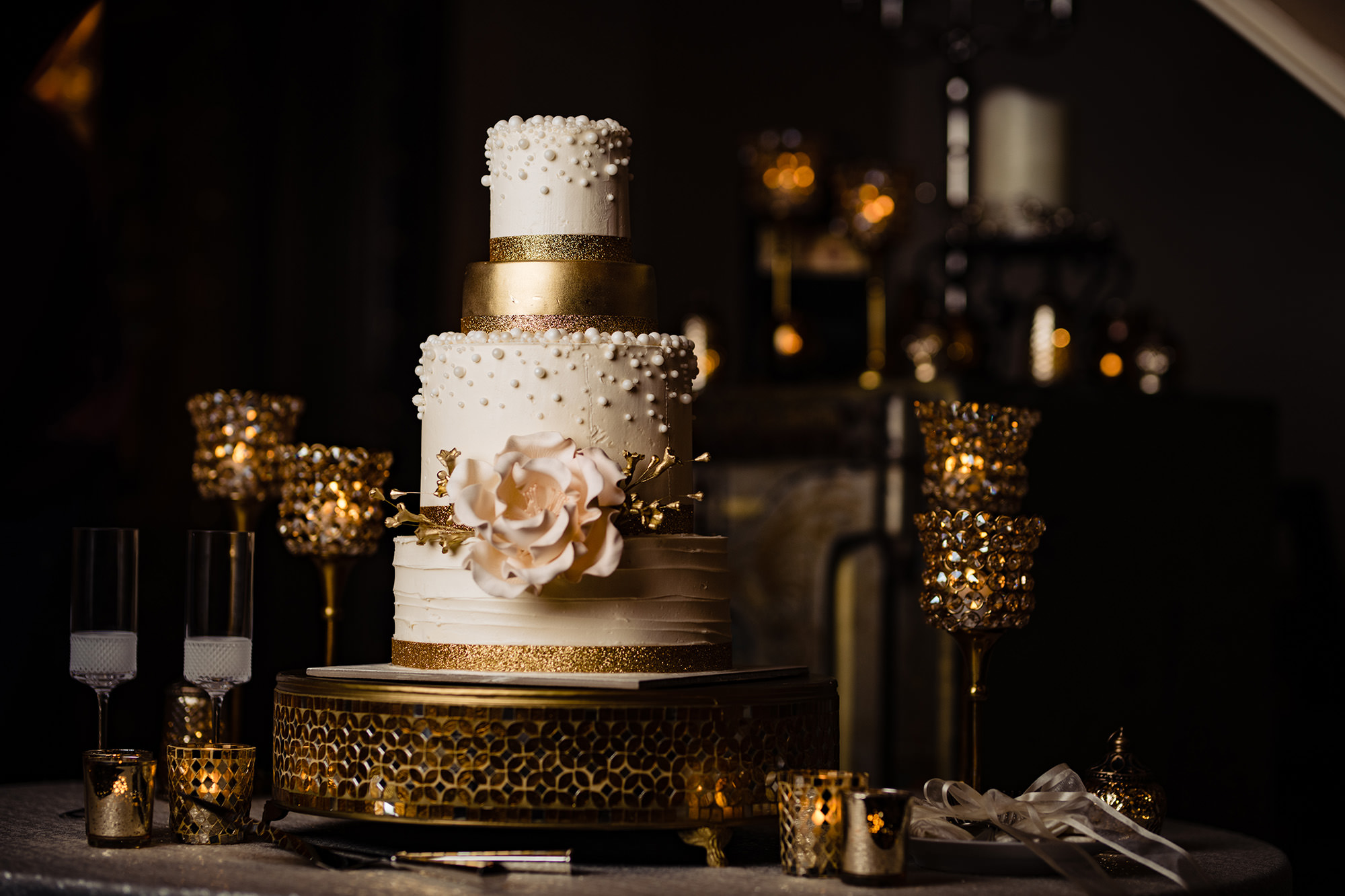 Wedding Cake With Floral And Gold Accents