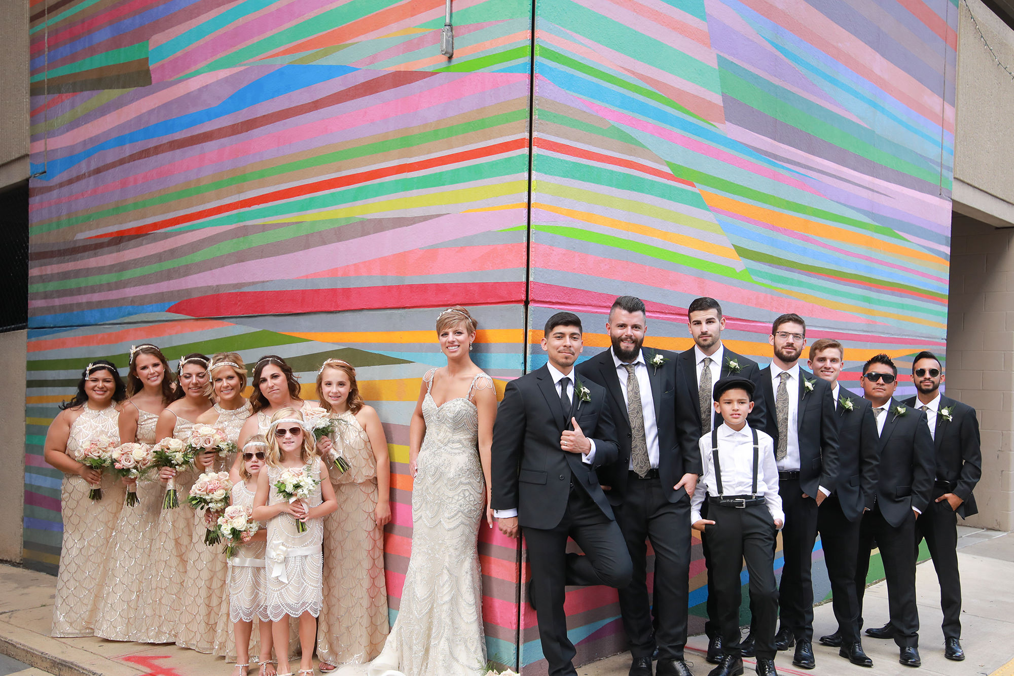 Kate And Felipe With Bridal Party On Arts Walk