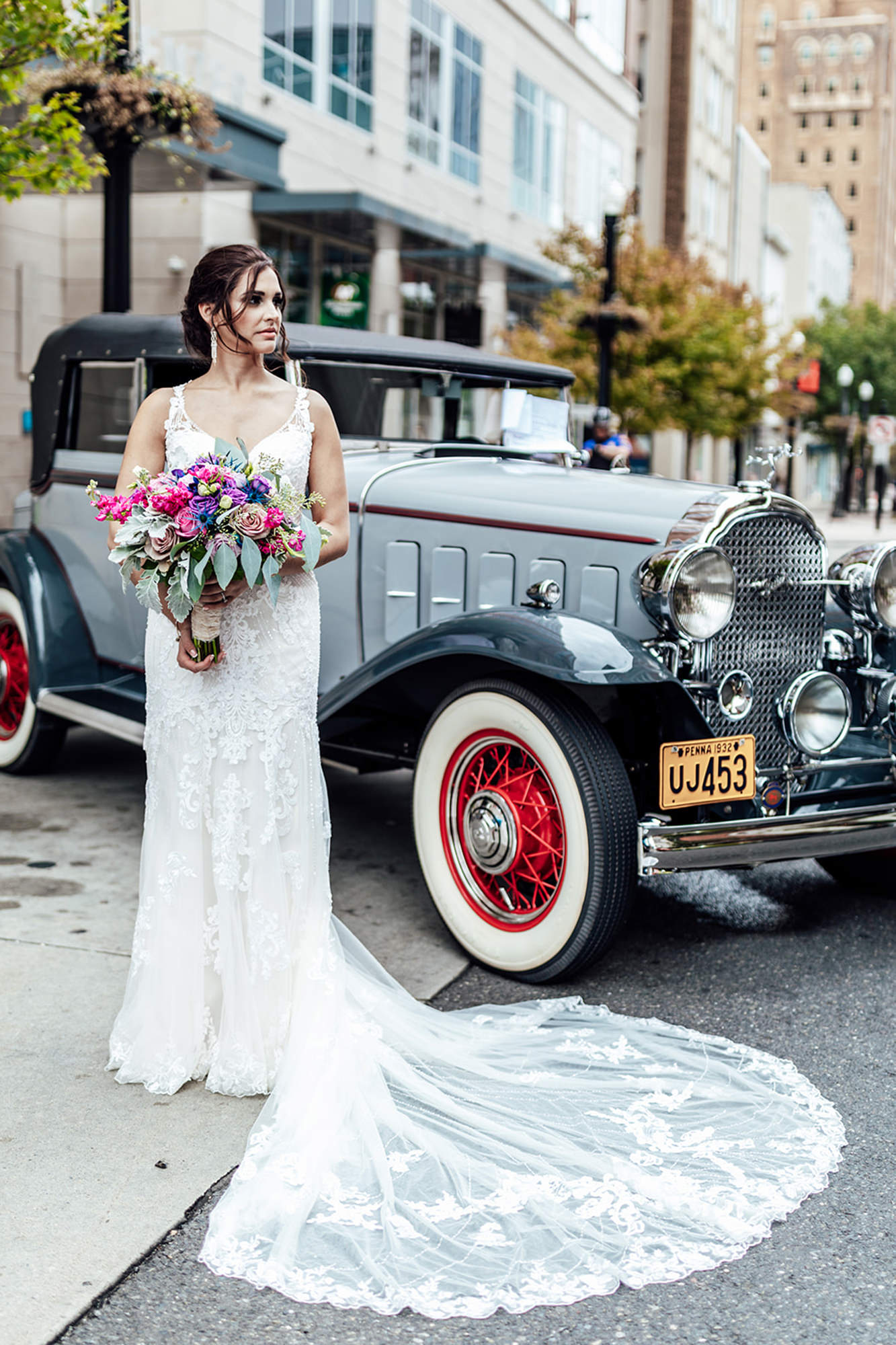 Shali With Antique Car
