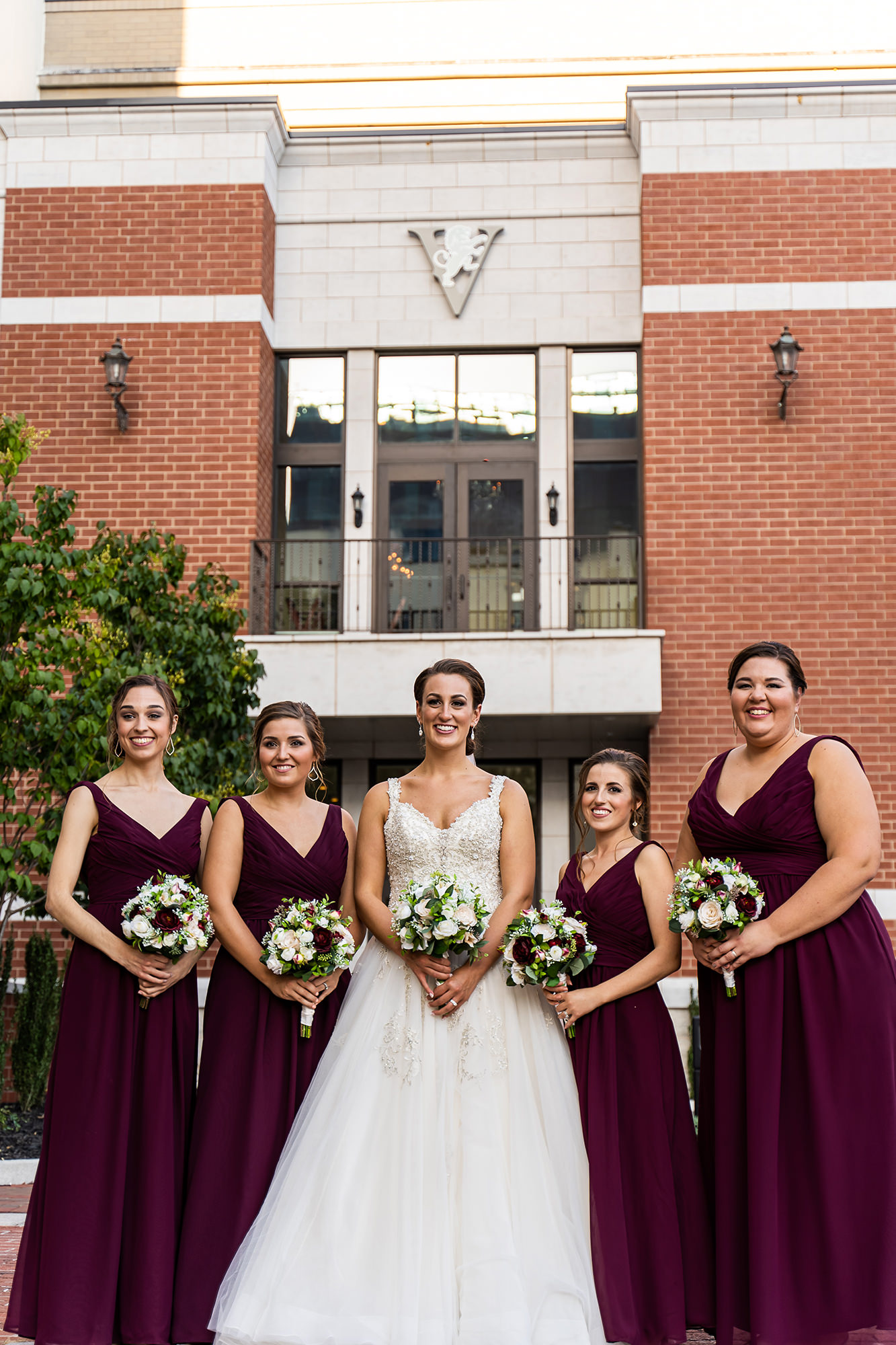 Erin With Bridesmaids Outside Annex