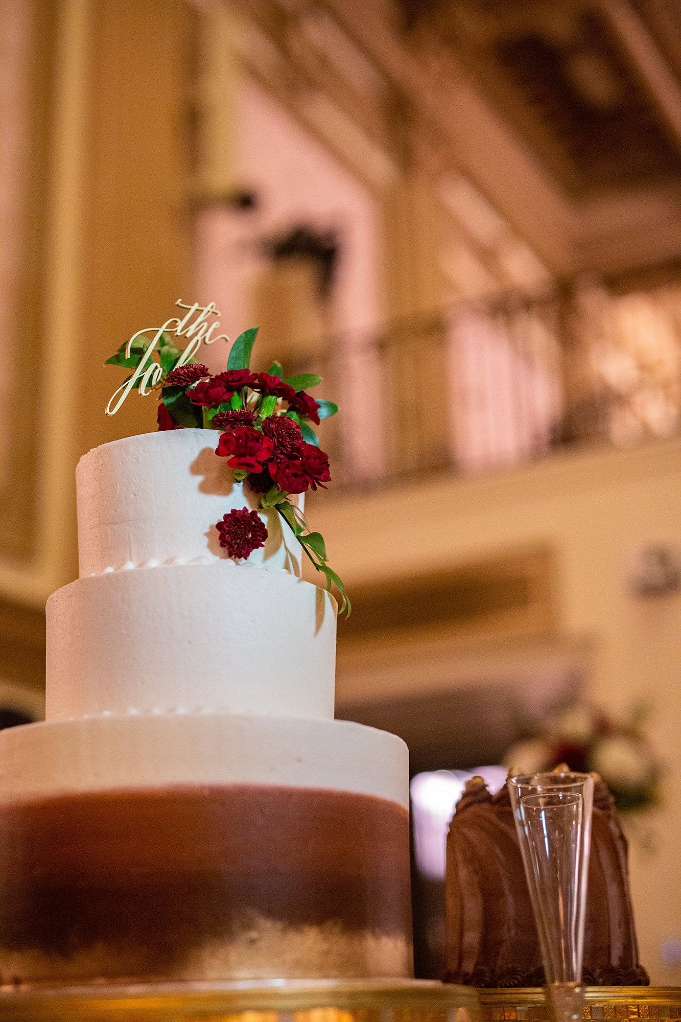 Wedding Cake With Red Florals