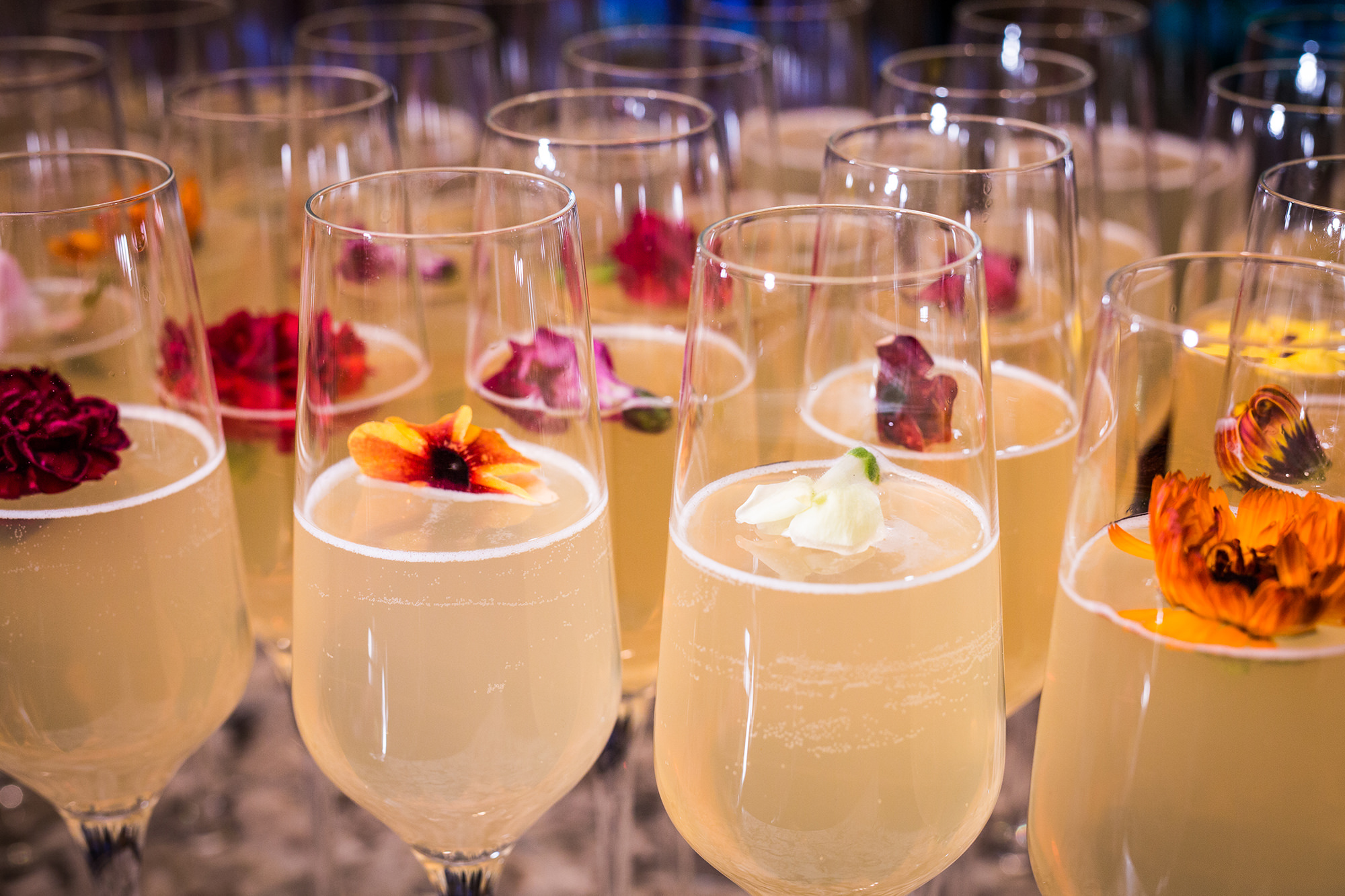 Specialty Cocktails In Champagne Glasses