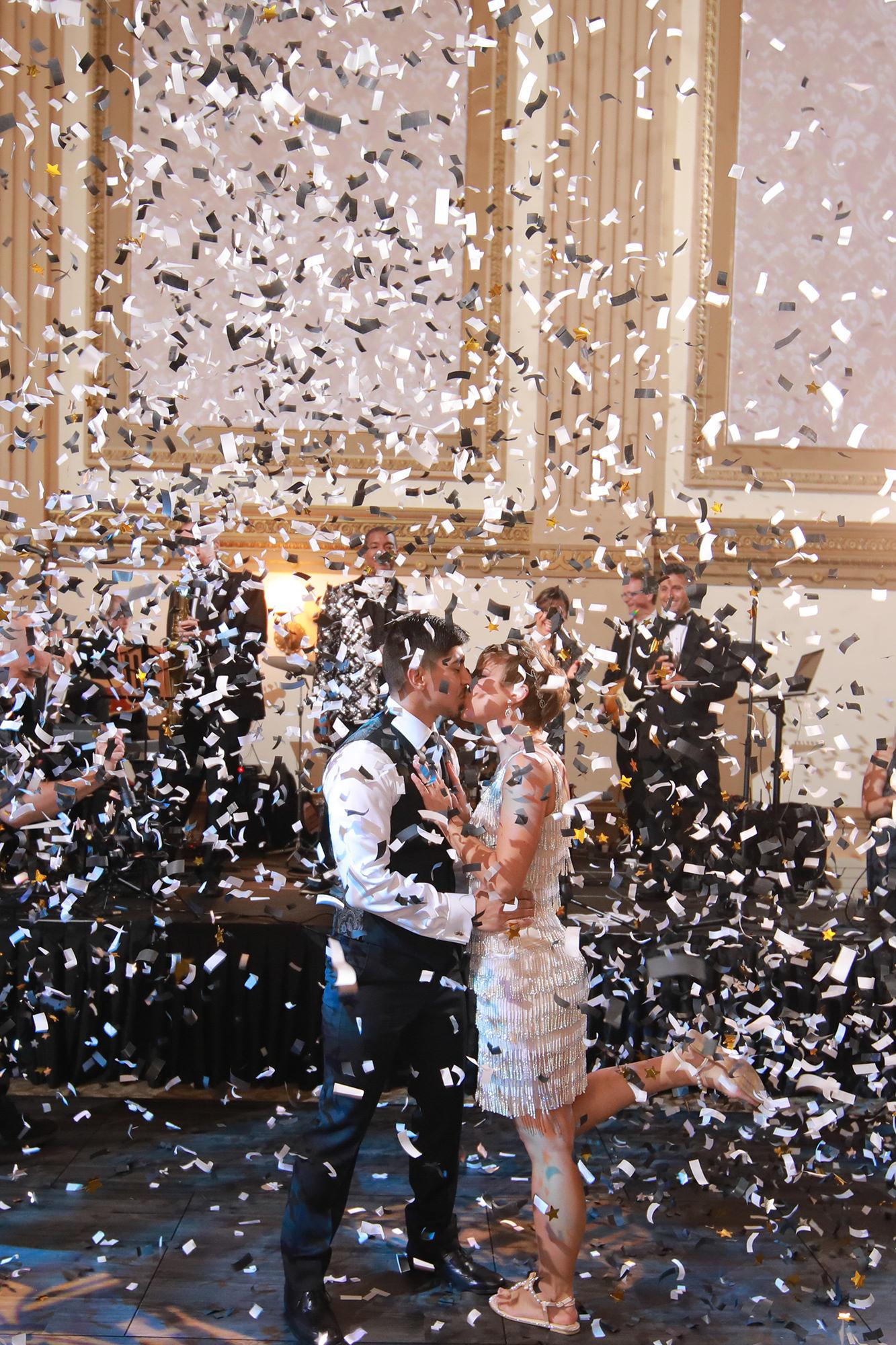 Kate And Felipe Confetti Cannon Kiss