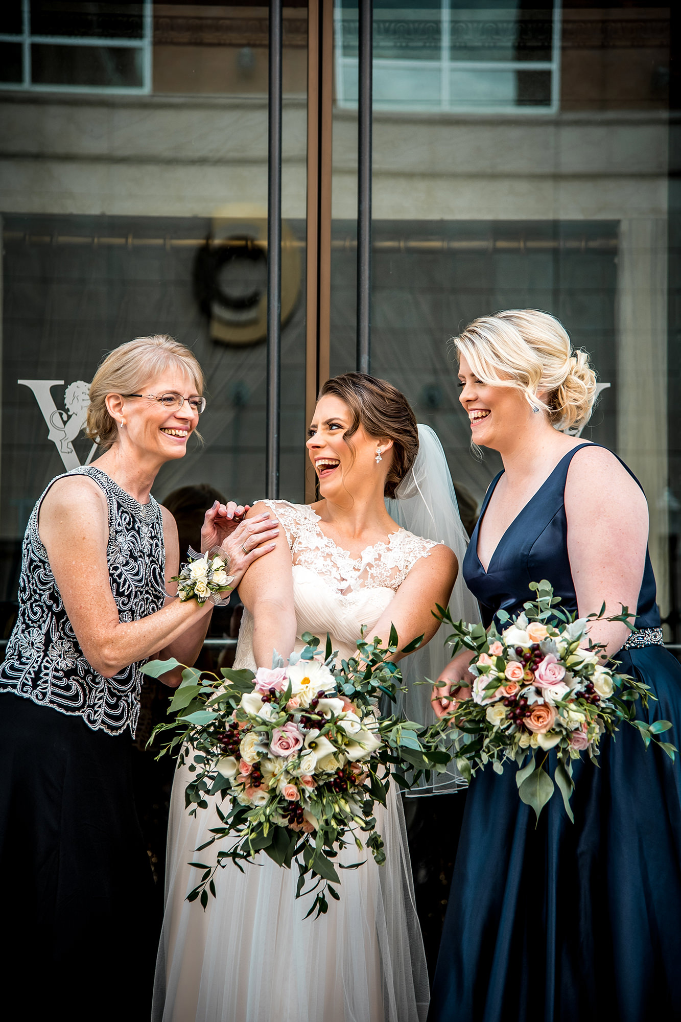 Sarah With Mother And Bridesmaid