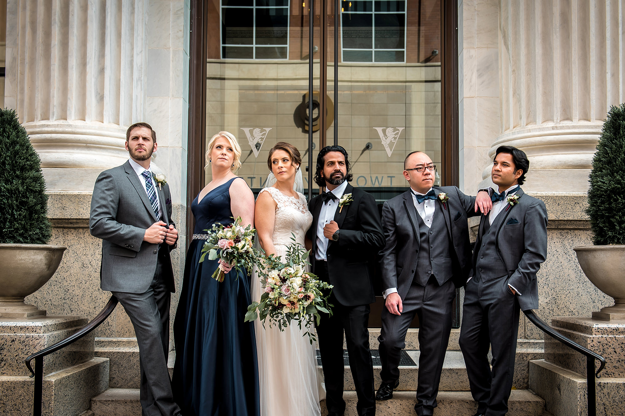 Sarah And Sanjeev With Bridal Party