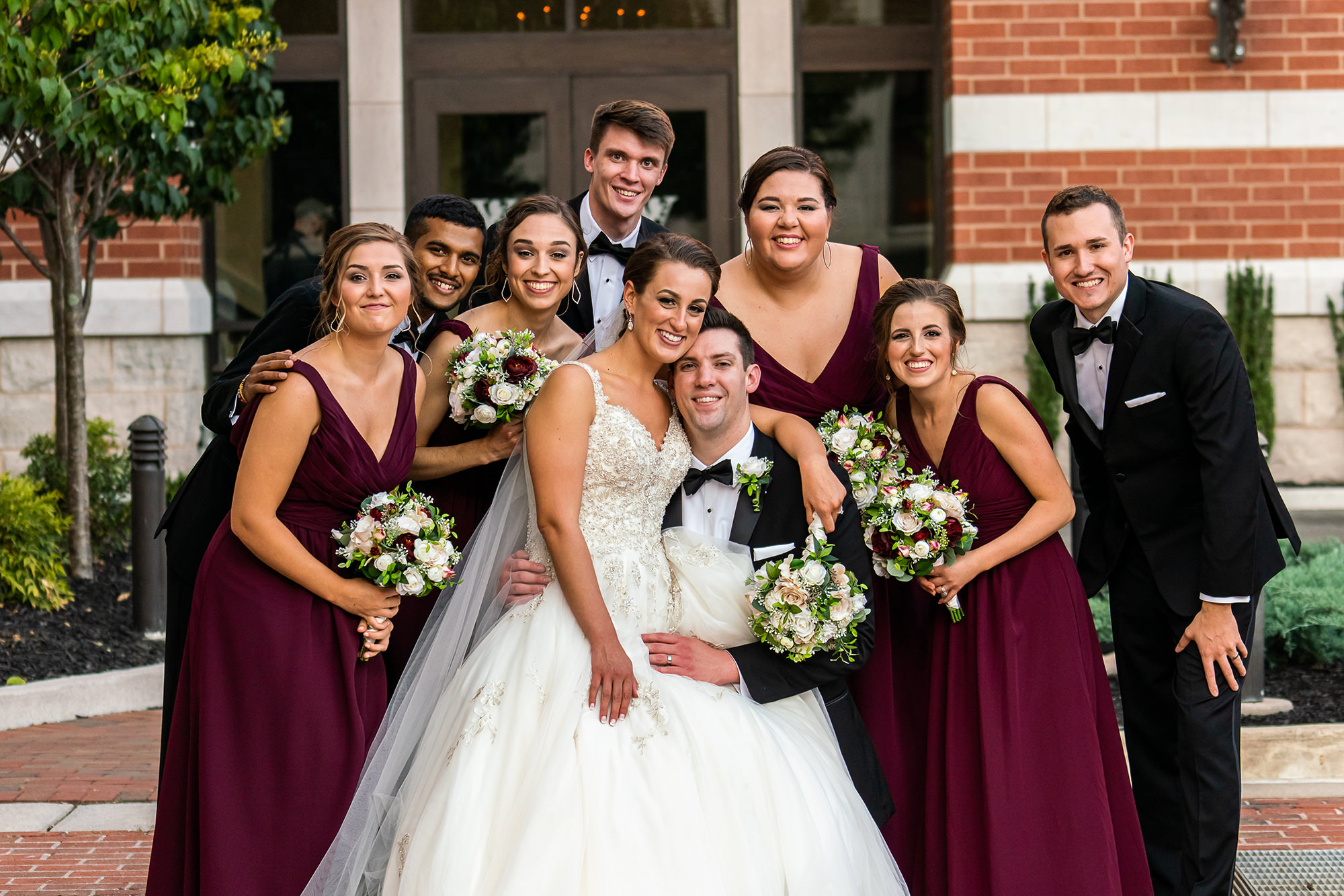 Erin And Jeremy With Bridal Party Outside Annex