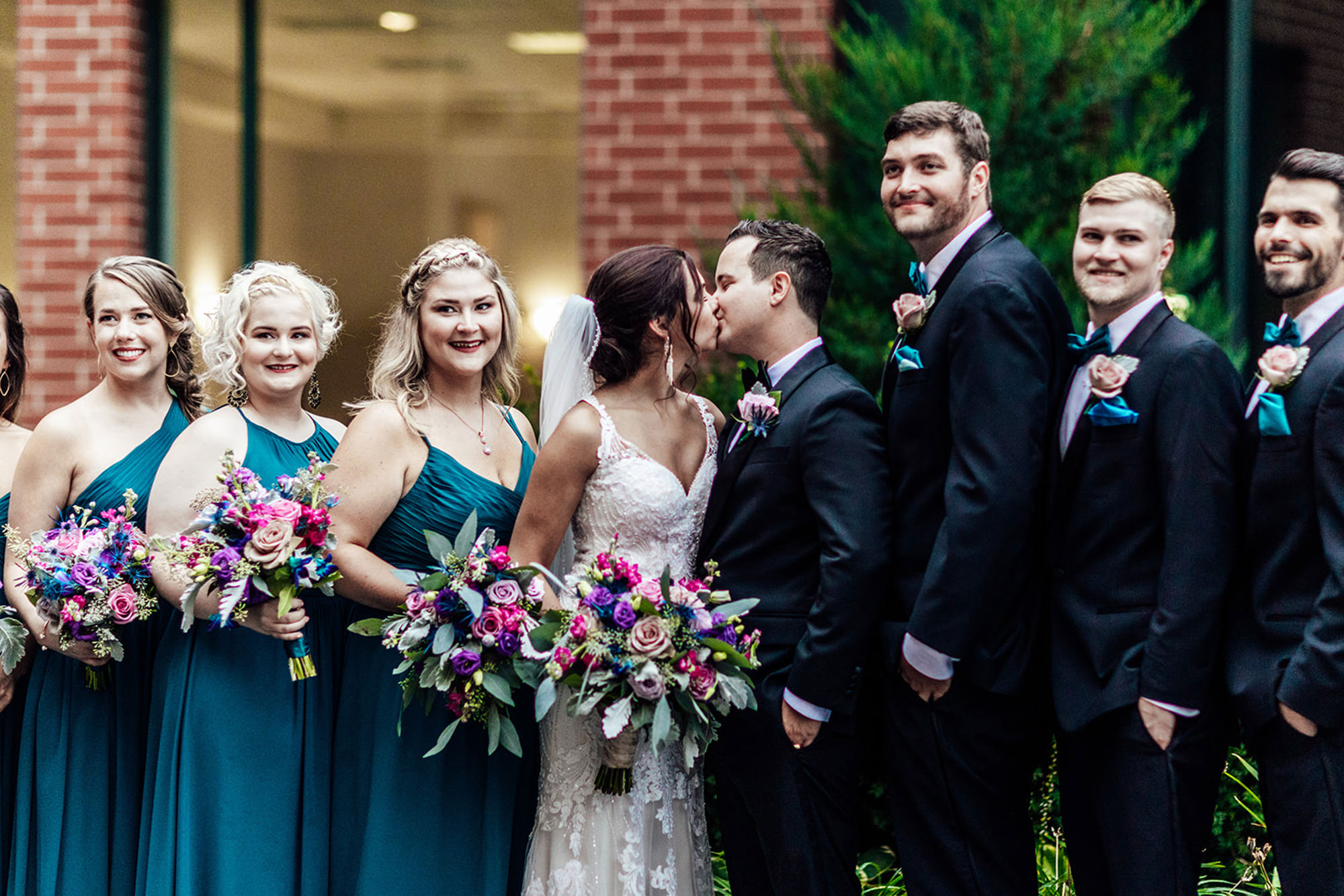 Shali And Jake With Bridal Party Outside